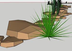 某驳岸景观石SketchUp(SU(草图大师))3D模型