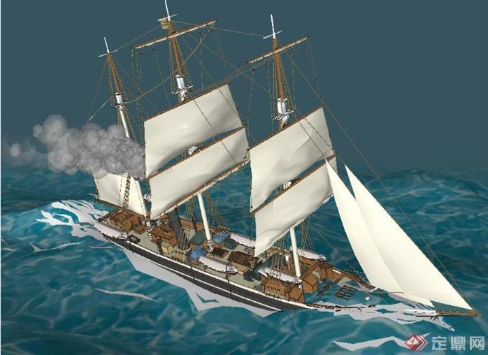 两个制作精美的帆船SketchUp(SU)3D模型2
