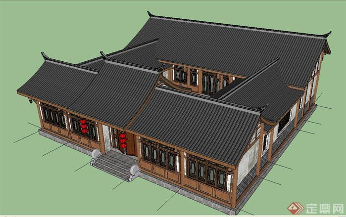 高档餐馆四合院建筑设计SketchUp(SU)3D模型