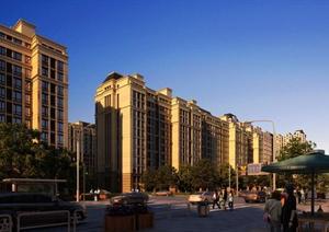 临街小高层居住建筑设计效果图PSD源文件