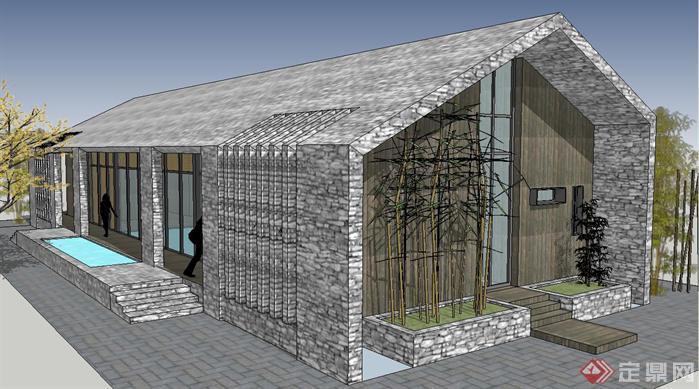 一个小茶室建筑方案SU精致设计模型