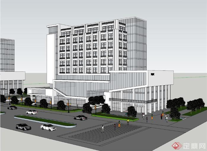 同个办公楼的9种立面设计和su模型