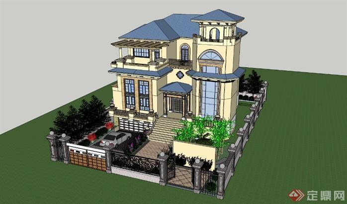 欧式别墅精细模型带庭院景观 CAD平面