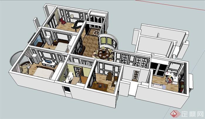 某样板房室内设计sketchup模型1