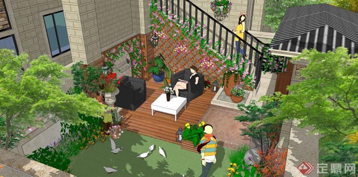 华北地区某项目庭院SU模型含效果图2