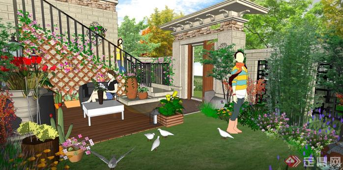 华北地区某项目庭院SU模型含效果图4