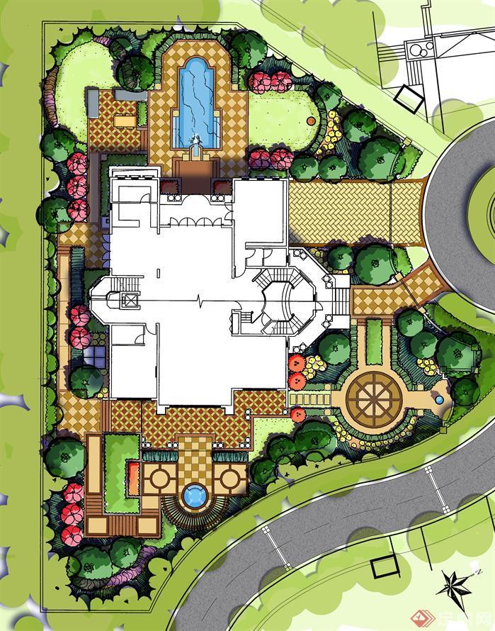 别墅庭院设计方案彩屏源文件