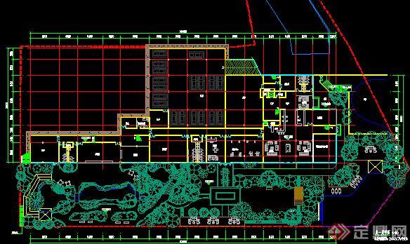 中式园林带总图和建筑各层平面图4