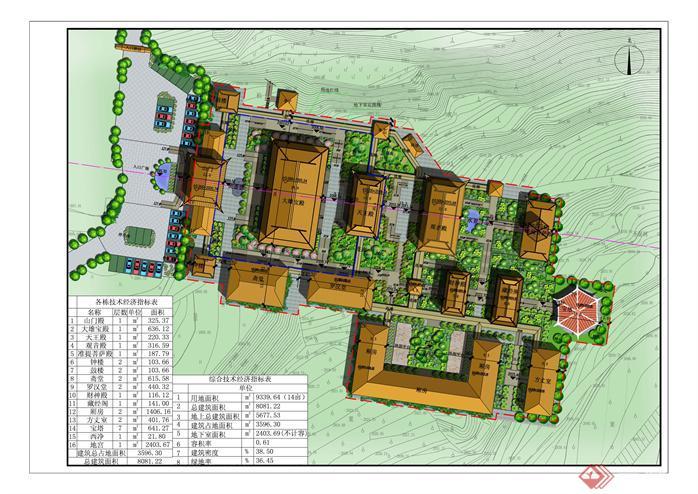 某地一寺庙规划设计方案总图