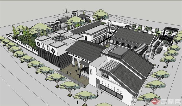 新中式古建园林会所SU精致设计模型(1)