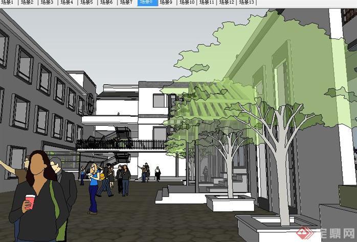 新中式古建园林会所SU精致设计模型(4)
