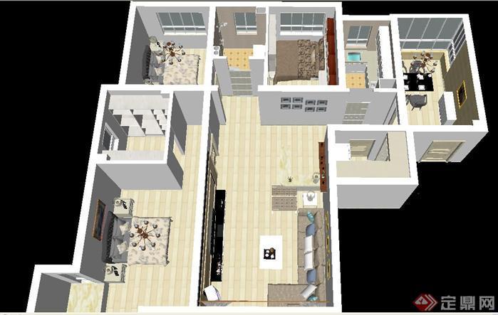 一套三房一廳戶型現代裝潢方案SU精細設計模型(3)