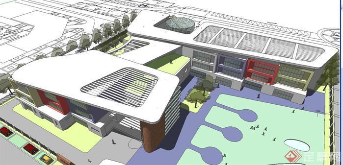 现代风格幼儿园建筑方案SU精细设计模型(带CAD平面图)(2)