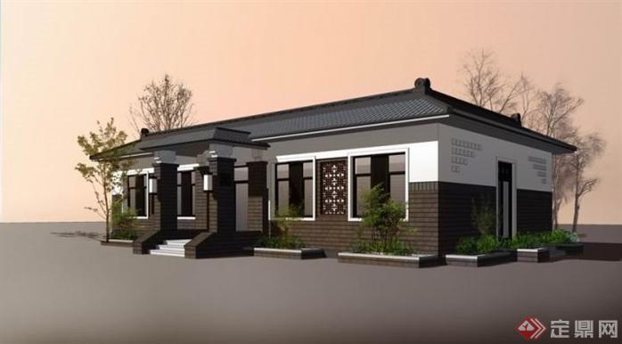 中式一层小别墅建筑设计SU模型(1)