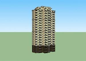 新古典高层居住建筑设计方案SU(草图大师)模型