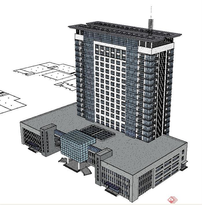 广播大厦建筑方案SU精致设计模型(3)