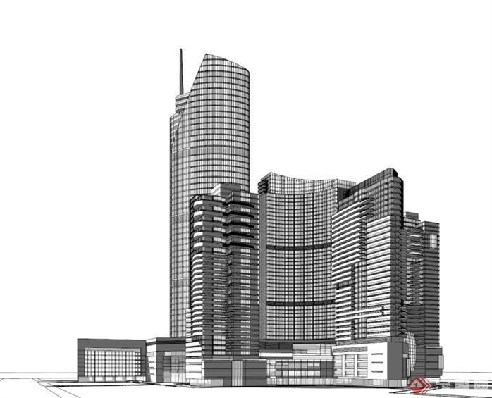 广播科技大厦SU精致设计模型(7)