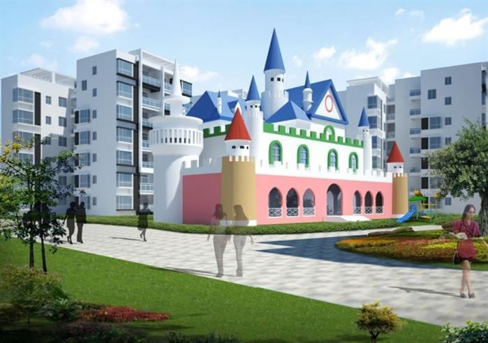 某城堡幼儿园建筑设计方案su模型(1)