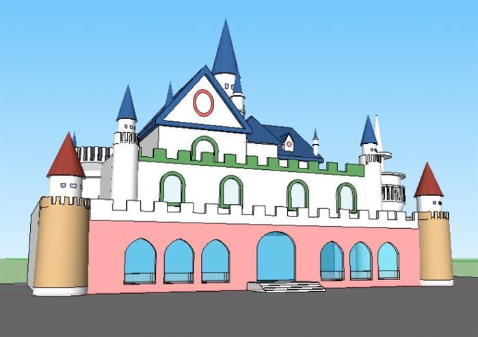 某城堡幼儿园建筑设计方案su模型(2)