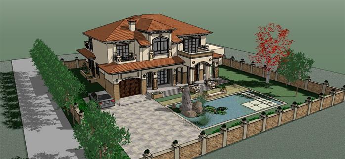 现代欧式别墅及景观设计su模型1