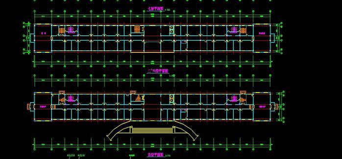 某镇政府办公楼平面立面总图(2)
