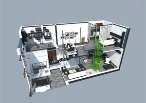 一套现代风格居住空间的室内SU(草图大师)设计模型