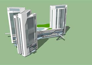 现代综合建筑设计方案SU(草图大师)模型