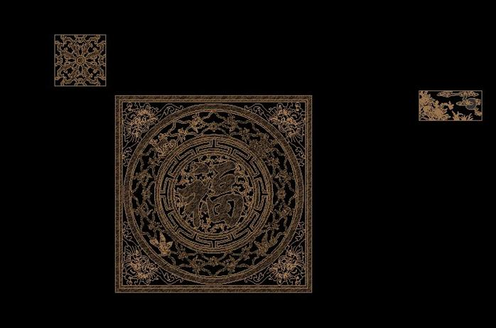 福字木雕cad图案(1)