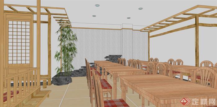 朝鲜族风格餐厅装潢方案SU模型(5)