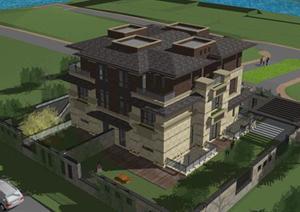 某双拼别墅建筑设计SU(草图大师)模型