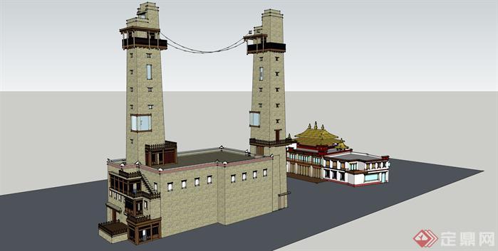 某藏族风格碉楼建筑设计方案SU模型1