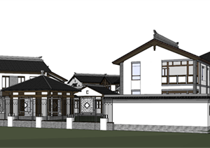 某中式徽派独栋别墅群建筑设计方案SU(草图大师)模型