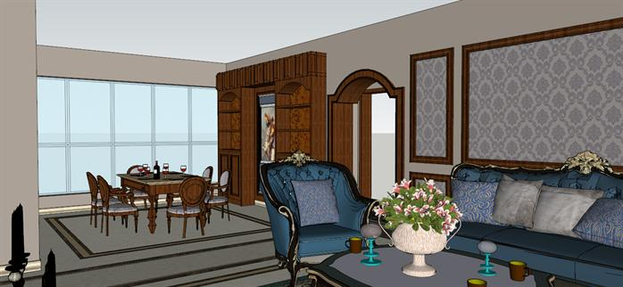 某欧陆式室内装饰设计方案效果图(2)