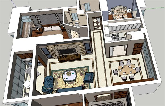 某欧陆式室内装饰设计方案效果图(3)