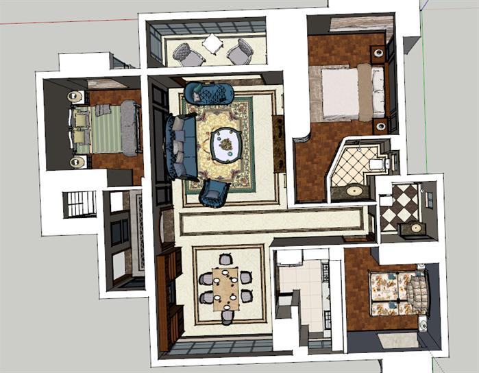 某欧陆式室内装饰设计方案效果图(5)