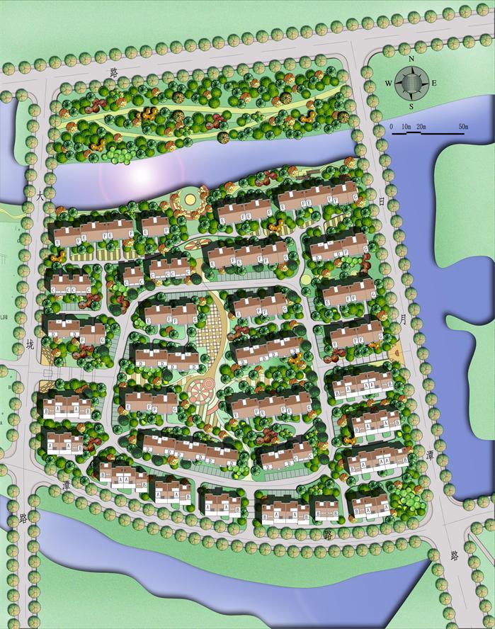小区景观设计平面高清_一套小区规划设计平面图