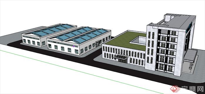 某现代风格办公建筑方案设计SU模型(2)