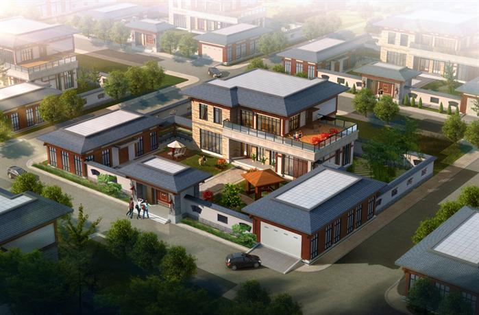 一套中国风四合院式别墅建筑设计SU模型