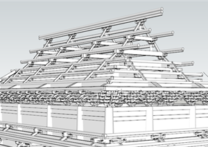一个别墅建筑屋面斗拱SU(草图大师)模型