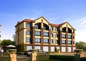 某现代风格小型居住建筑方案设计3DMAX模型
