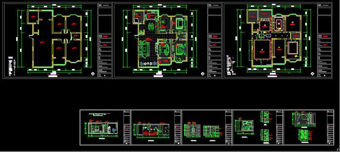 四室两厅一厨两卫装饰施工图及室内效果图-约170平-8张CAD1张效果图(1)