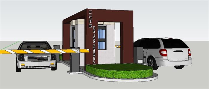 某小区入口岗亭门房SU设计模型
