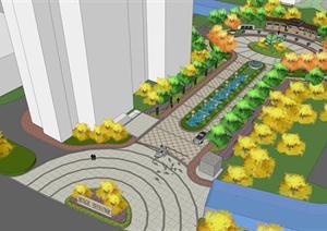 某小区入口景观规划SU(草图大师)模型