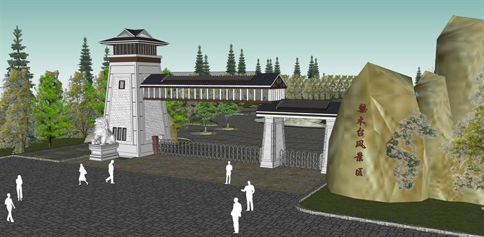 某景区入口大门方案SU模型(1)