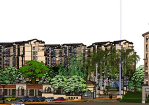 某托斯卡纳风格小区建筑规划设计SU(草图大师)模型