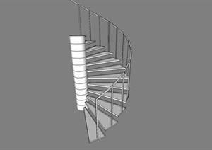 某现代风格楼梯踏步方案设计SU(草图大师)模型