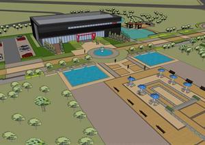 某现代会展中心建筑及景观设计方案SU(草图大师)模型