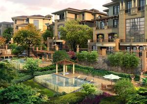 某现代风格别墅水景景墙景观设计效果图PSD