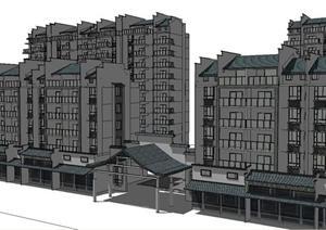 某公寓小区+沿街商铺建筑设计SU(草图大师)模型