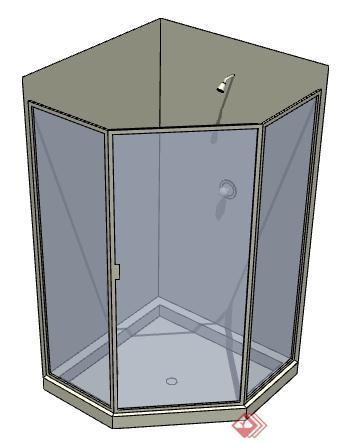 一个淋浴房设计SU模型素材(1)